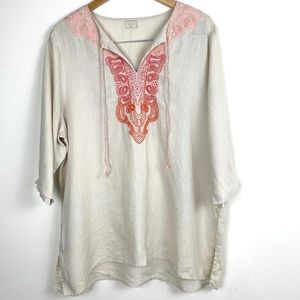 Symple NYC Embroidered Linen Boho Tunic Top